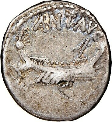 Marc Antony - NGC Ch F 4/5 3/5 - Denarius, Mint Moving with M.Antony  32-31 153