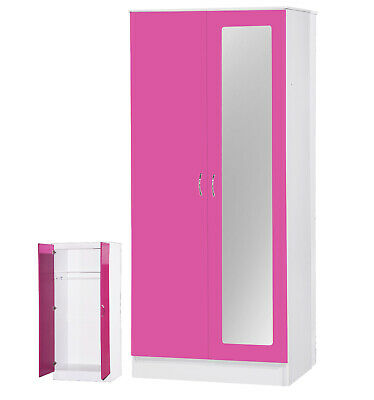 High Gloss Pink & White 2 Door Double Wardrobe With Mirrored Door