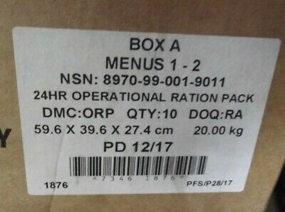 Current British Army Issued 24 Hour Rations X 10, Box A, Menu 1 & 2