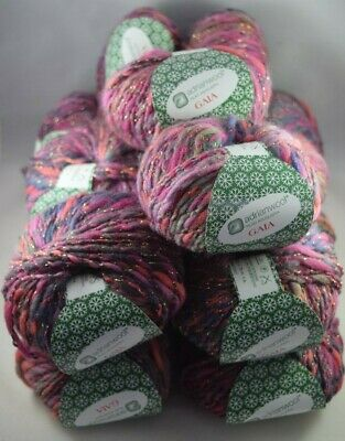 15 X 50g ADRIANWOOL Gaia Yarn 80% Pure Virgin Wool Pink Purple Red Mauve Sparkly