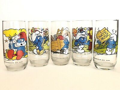 5 Vintage Smurfs Glasses Smurf Collectible 1982