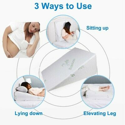 Bamboo Memory Foam Wedge Pillow Back Support Snoring Acid Reflux Or Cover Only
