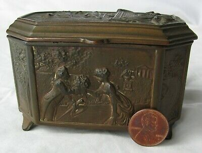 """Antique """"Weidlich Brothers"""" Ornate Art Nouveau Footed Bronze Trinket Box, NR!"""