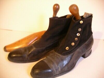 Original Victorian Edwardian Mens Boots Leather Suede Buttoned & Wooden Trees