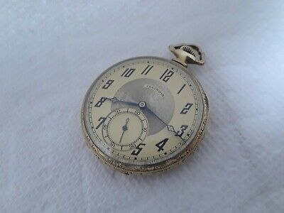 pocket watch ILLINOIS 17  j adjusted AUTOCRAT gold filled two tone dial engraved
