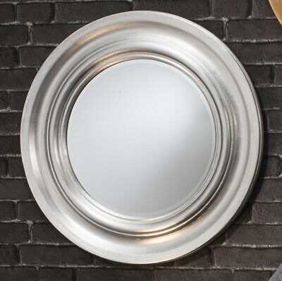 Round Scooped Frame Silver Wall Mirror EX-DISPLAY B-STOCK *DEFECTS 84cm Diameter