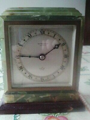 Lovely Mappin & Webb, Sheffield, ELLIOTT Onyx Mantle Clock on wooden base