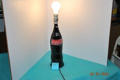 """Glass Coca Cola Coke Bottle Lamp Electric Cord 110V Works 16"""" tall"""