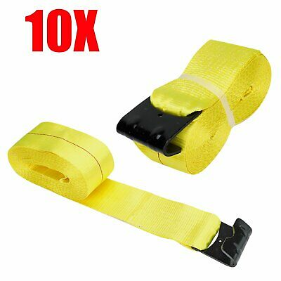 """8 RED 4/"""" x 30/' Winch Straps Flat Hook Flatbed Truck Trailer Tie Down Strap FH"""