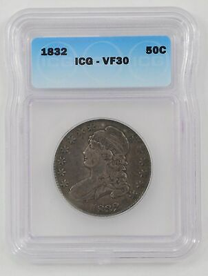 1832  Capped  Bust  Silver Half  Dollar - ICG  VF30 - Strong  Strike