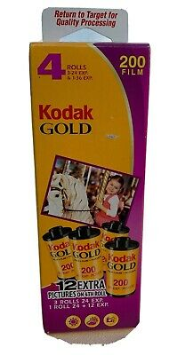 4 Roll Pack Kodak Gold ISO 200 Film 24 Exposure Color Print 35mm Expired 08/2008