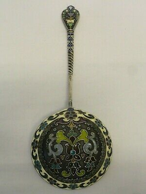 Antique Russian silver 84 cloisonne plique-a-jour enamel spoon by 11 Artel 7.5""
