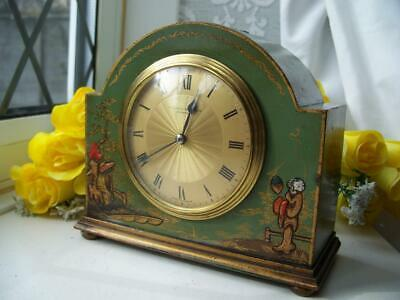 WONDERFUL ANTIQUE FRENCH SAGE CHINOISERIE 8 DAY MANTLE CLOCK c1920