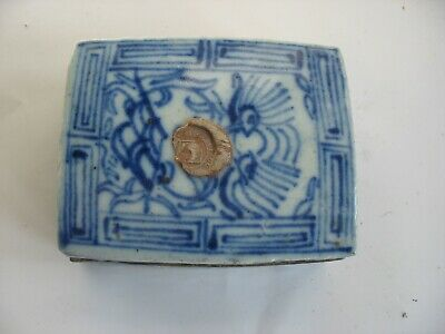 Antique Chinese Painted Blue & White Porcelain Lidded Asian Ink Box Container
