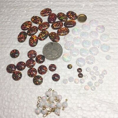 Opals, Black, White - High Quality Lab Created Cabochons - LOT - 8