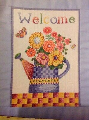 (J) Welding Hanging Watering Can Of Flowers Cross Stitch Chart