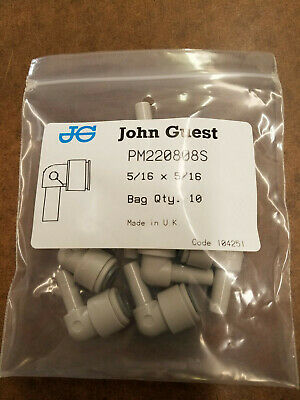 NEW John Guest PM220808S Elbow Connector 5/16 Stem x 5/16 Tube (10 Pack)
