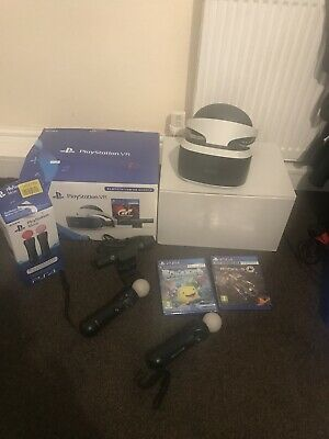 Sony PlayStation VR V1, 2 Move Controllers, 2 Games, Camera V2, Bundle (PSVR)