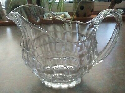 Art Deco oval water jug/pitcher, clear pressed glass, 1950s vintage, 1.5 pints