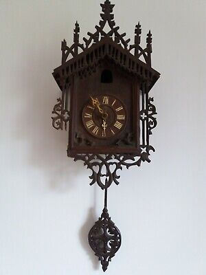 Antique Vintage 19thC Gothic Style Cuckoo Clock for Restoration