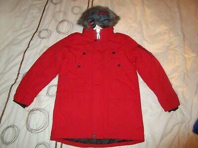 boys boy parker coat jacket age 13 years next new tags red fur hood thick