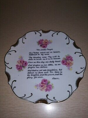 Vintage Mid-State Products Lord's Prayer Collector Plate 18K Trim Gold Japan