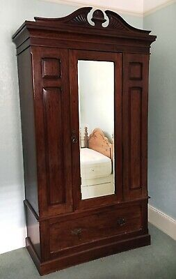 Victorian / Edwardian Mahogany Single Door Wardrobe with drawer below