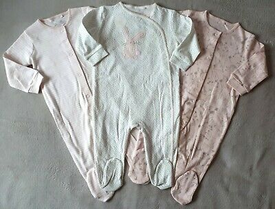 BNWT Next Baby Girls 9-12 Months 3 Pack Sleepsuits Pink Bunny