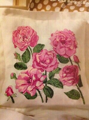 (B) Kate Knight Pink Rose Flower Cushion Cover Cross Stitch Chart