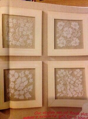 (B) Natural Linen Flower Panels Cross Stitch Chart