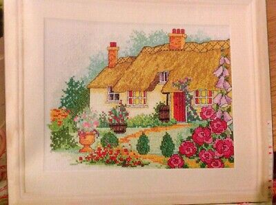 (B) Rural Retreat Summer Thatched Country Cottage Garden Cross Stitch Chart