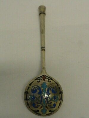 Antique Russian silver 84 champleve enamel spoon by Khlebnikov, 32 gr circa 1882