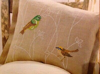 (B) Zweigart Stunning Songbirds Rustic Cushion Cover Cross Stitch Chart