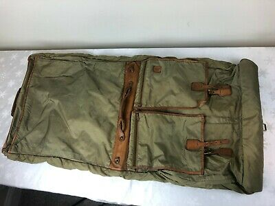 Hartmann Luggage - Brown Nylon, Leather Trim Large Hanging Clothes Bag