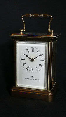 Classic MATTHEW NORMAN Brass 8 Day CARRIAGE CLOCK Original Box and Documents