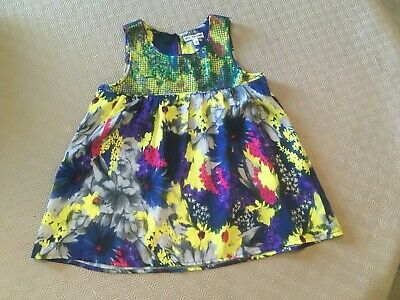 Girls Lovely Sequin Floral Top From M&S  Age 9 Years  Ex Cond