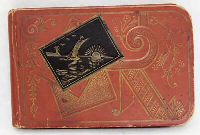 Antique1888 Signed Embossed Autograph Album Book with Antique Labels Stickers