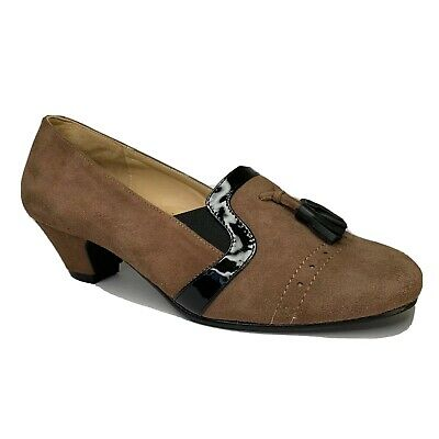 Kushins Suede Brown Leather Almond Toe Heel Size 7 Court Shoe Arch Support