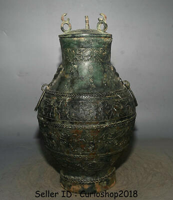 "16"" Chinese Dynasty Bronze Vessel Ware People hunting Beast Lids Pot Jar Crock"