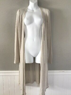 Eileen Fisher XS/P Womens Beige Thin Knit Long Open Front Cardigan Sweater