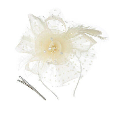 Polka Dot Cap, Flower Mesh With Feather Veil Cap With Head Clip Clipper Ms. G8W5