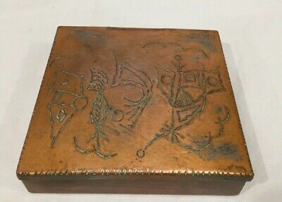 Antique Asian China Chinese Paktong Copper Pewter Engraved Metal Metalware BOX