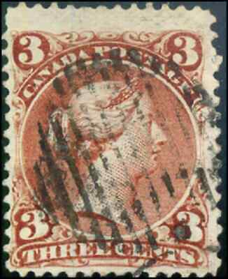 Canada #25 used F 1868 Queen Victoria 3c red Large Queen JUMBO CV$20.00