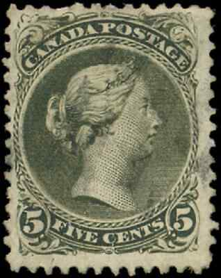Canada #26 used F 1868 Queen Victoria 5c olive green Large Queen CV$130.00
