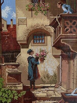 Vintage UNWORKED Tapestry Canvas v. Spitzweg Painting 'The Wellwisher' 50 x 64cm