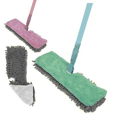 Double-Sided Microfibre Mop Cleaner Sweeper Wooden Laminate Tile Floor Wet & Dry