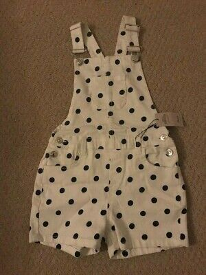 childrens girls dungaree clothes playsuit shorts white black spots age 7/8 new
