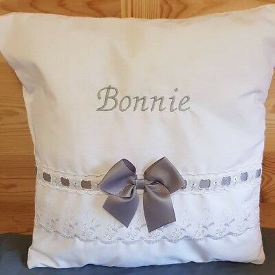 Personalised baby embroidered broderie angliase cushion pillow BABY SHOWER 💙💖