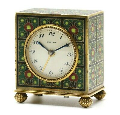 • Antique ZENITH French Miniature Enamel Carriage Travel Alarm Desk Clock •