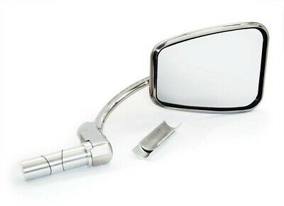 Halcyon 820 Bar End Mirror for Motorcycles, Stainless Steel - Rectangular Head